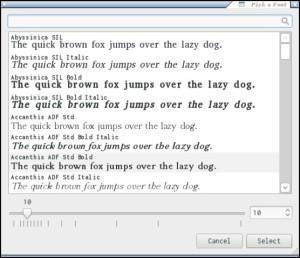 Font Selector for Verne